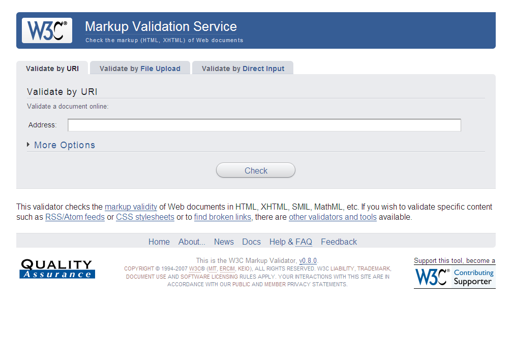 This is the W3C Markup Validator, v0.8.0.